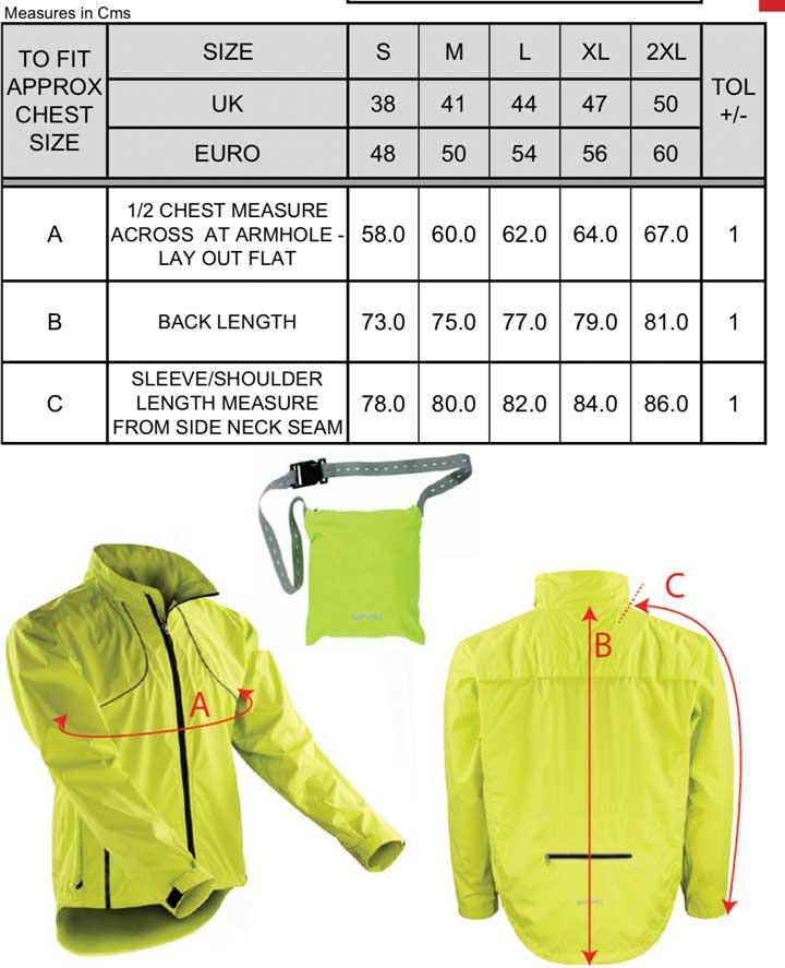 Unisex Trail & Track Radsport Jacke | Spiro - Größentabele