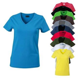 Tailliertes Damen T-Shirt mit V-Ausschnitt | James & Nicholson