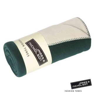 Fleece Decke   James & Nicholson dunkelgrün/creme