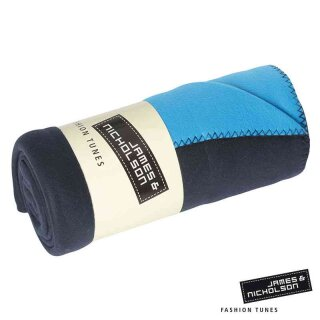 Fleece Decke | James & Nicholson navy/aqua
