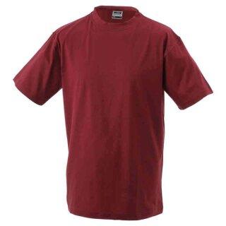 Basic T-Shirt S - 3XL | James & Nicholson weinrot XXL
