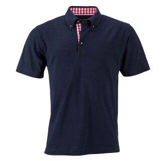 Klassisches Poloshirt im Trachtenlook   James & Nicholson navy/rot/weiß XXL
