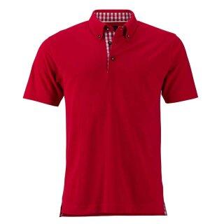Klassisches Poloshirt im Trachtenlook | James & Nicholson rot/rot/weiß XL