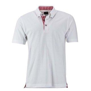 Klassisches Poloshirt im Trachtenlook | James & Nicholson weiß/rot/weiß 3XL