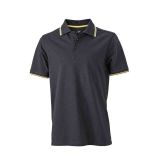 Herren Sommer Poloshirt - UV-Schutz | James & Nicholson schwarz/weiß/gelb L