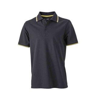 Herren Sommer Poloshirt - UV-Schutz | James & Nicholson schwarz/weiß/gelb XL