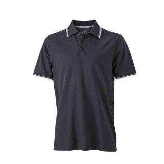Herren Sommer Poloshirt - UV-Schutz | James & Nicholson schwarz/weiß/grau M