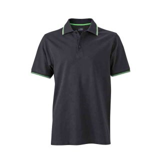 Herren Sommer Poloshirt - UV-Schutz | James & Nicholson schwarz/weiß/grün M