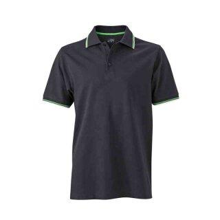 Herren Sommer Poloshirt - UV-Schutz | James & Nicholson schwarz/weiß/grün XXL