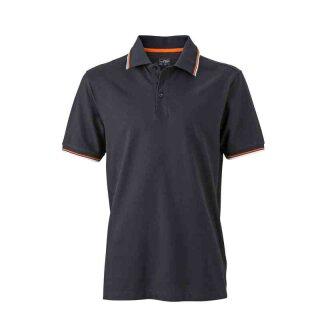 Herren Sommer Poloshirt - UV-Schutz | James & Nicholson schwarz/weiß/orange XL