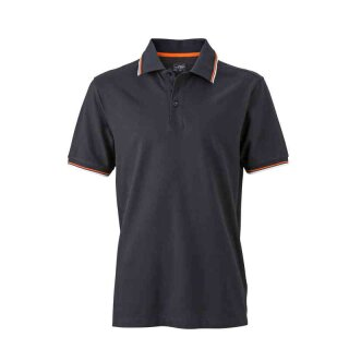 Herren Sommer Poloshirt - UV-Schutz | James & Nicholson schwarz/weiß/orange 3XL