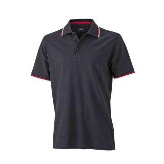 Herren Sommer Poloshirt - UV-Schutz | James & Nicholson schwarz/weiß/rot M