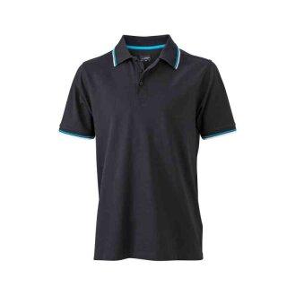 Herren Sommer Poloshirt - UV-Schutz   James & Nicholson schwarz/weiß/türkis XXL