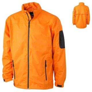 Sportliche Herren Regenjacke | James & Nicholson orange/carbon M