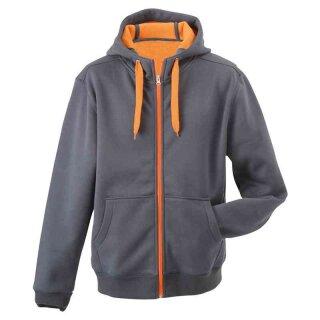 Sportiver Herren Hoodie | James & Nicholson carbon/orange XL
