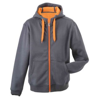Sportiver Herren Hoodie | James & Nicholson carbon/orange 3XL