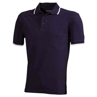 Poloshirt mit Kontraststreifen | James & Nicholson aubergine/weiß S