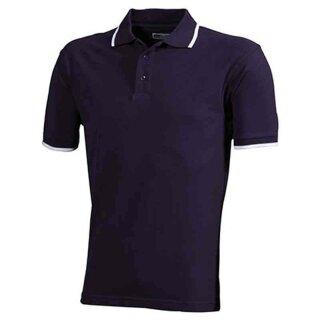 Poloshirt mit Kontraststreifen | James & Nicholson aubergine/weiß M