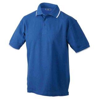 Poloshirt mit Kontraststreifen | James & Nicholson blau/weiß M