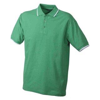 Poloshirt mit Kontraststreifen | James & Nicholson frog/weiß M