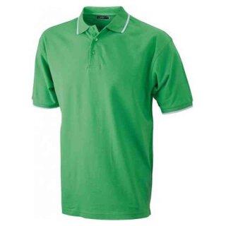 Poloshirt mit Kontraststreifen | James & Nicholson limone/weiß 3XL