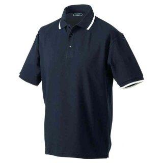 Poloshirt mit Kontraststreifen | James & Nicholson navy/weiß S