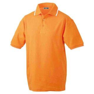 Poloshirt mit Kontraststreifen | James & Nicholson orange/weiß L