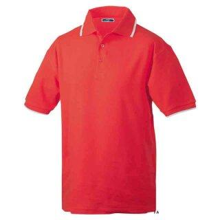 Poloshirt mit Kontraststreifen | James & Nicholson rot/weiß M