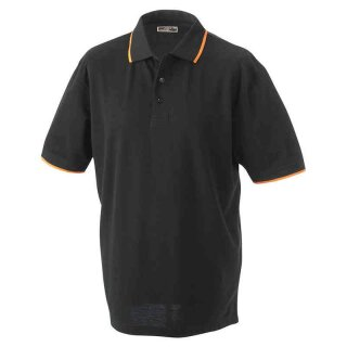 Poloshirt mit Kontraststreifen | James & Nicholson schwarz/orange S