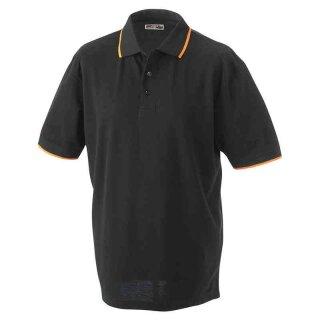 Poloshirt mit Kontraststreifen | James & Nicholson schwarz/orange XL