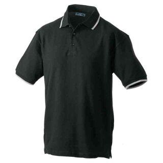 Poloshirt mit Kontraststreifen | James & Nicholson schwarz/silber XL