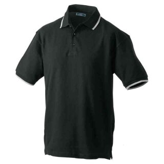 Poloshirt mit Kontraststreifen   James & Nicholson schwarz/silber XXL