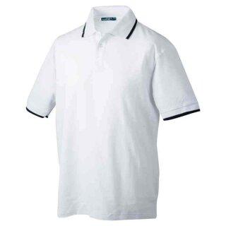 Poloshirt mit Kontraststreifen | James & Nicholson weiß/navy 3XL