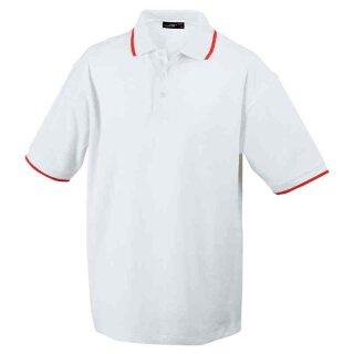 Poloshirt mit Kontraststreifen | James & Nicholson weiß/rot M