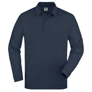 Herren langarm Poloshirt | James & Nicholson navy XXL