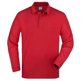 Herren langarm Poloshirt   James & Nicholson rot XL