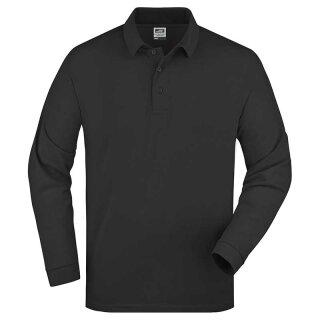Herren langarm Poloshirt | James & Nicholson schwarz XXL
