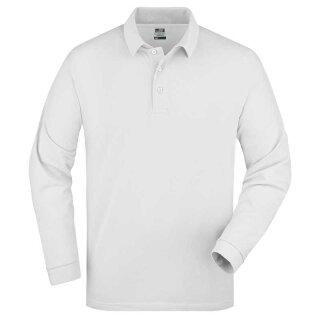 Herren langarm Poloshirt | James & Nicholson weiß S