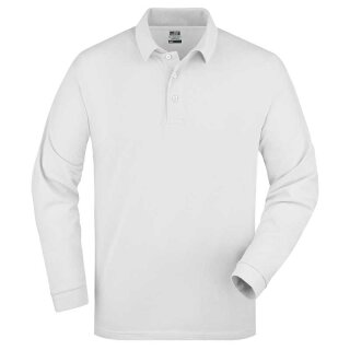Herren langarm Poloshirt | James & Nicholson weiß XL