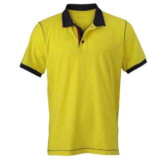 Urban Poloshirt | James & Nicholson gelb/navy 3XL