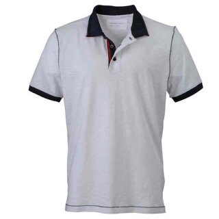 Urban Poloshirt | James & Nicholson weiß/navy XL
