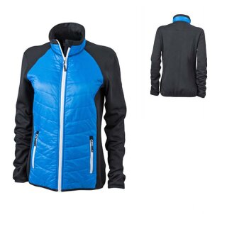 Damen Hybridjacke | James & Nicholson black/cobalt/white L