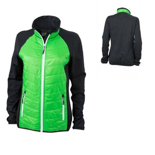 Damen Hybridjacke | James & Nicholson black/green/white XL