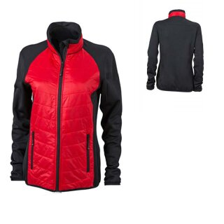 Damen Hybridjacke | James & Nicholson black/red/black S