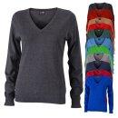 Damen V-Ausschnitt Pullover | James & Nicholson